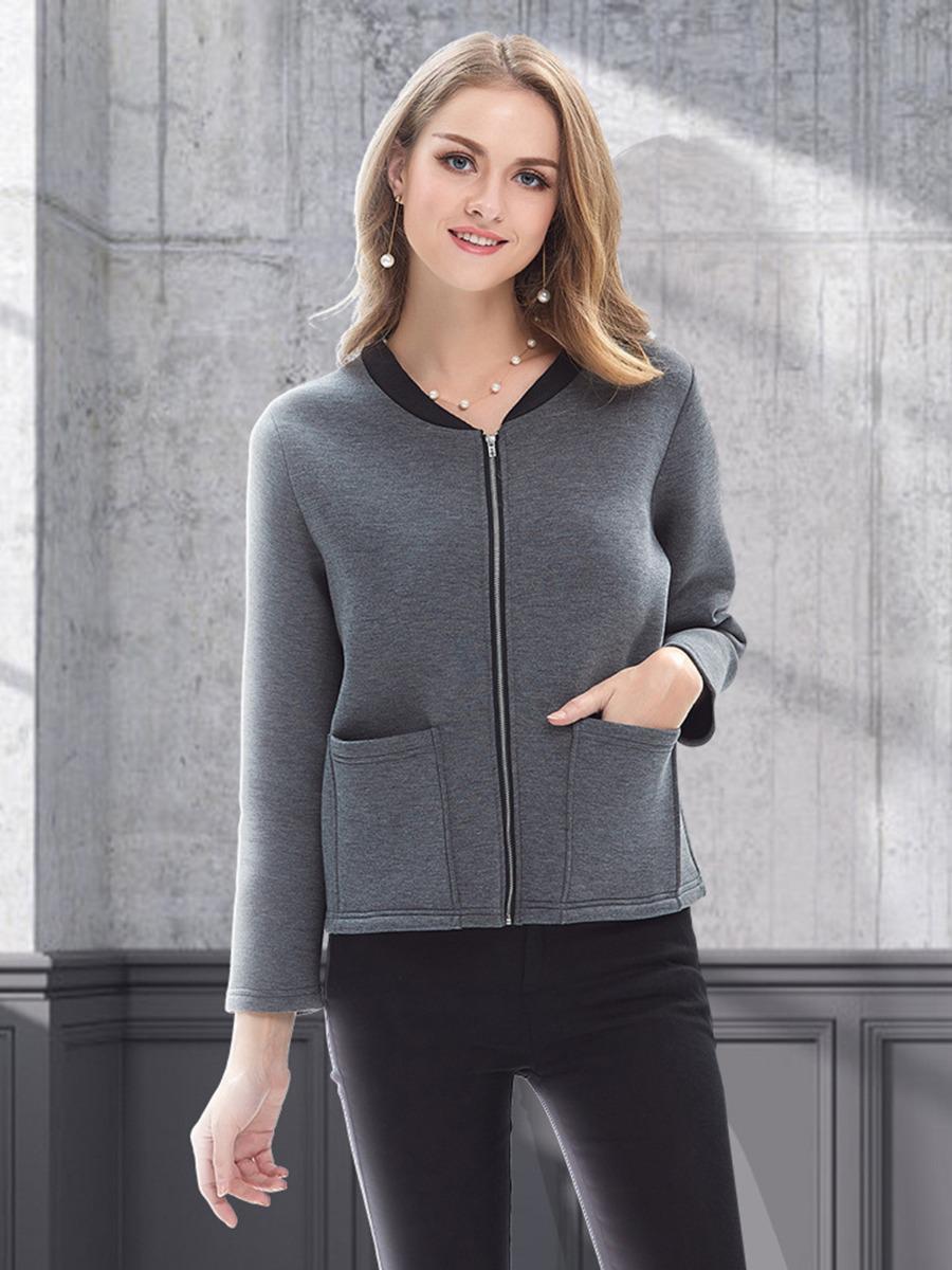 shestar wholesale double pocket plain zipper jacket