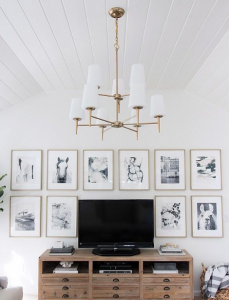 Integrate the television into a wall of frames